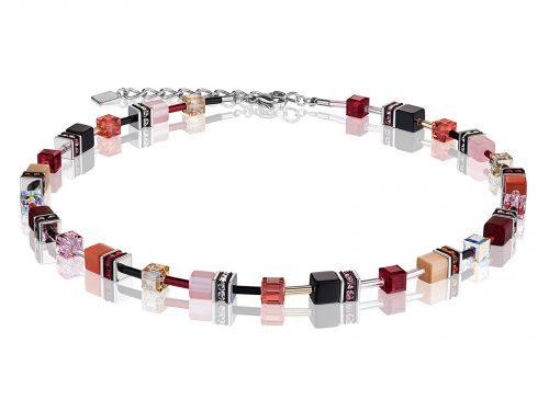 Coeur De Lion Geo Cube Red Swarovski Crystal Necklace