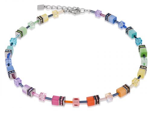 Coeur De Lion Geo Cube Soft Multicolour Necklace
