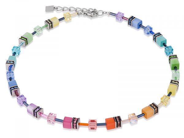Coeur De Lion Geo Cube Soft Multicolour Necklace