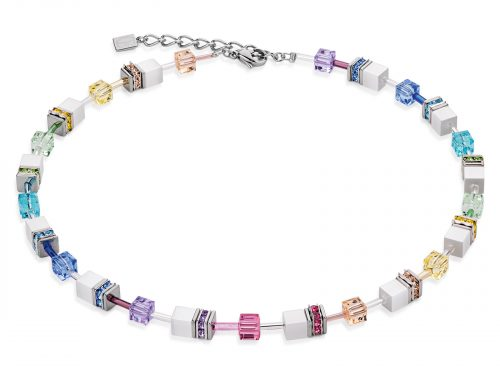 Coeur De Lion Geo Cube Multicolour Pastel-White Necklace