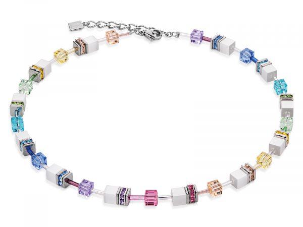 Coeur De Lion Geo Cube Multicolour Pastel-White Necklace