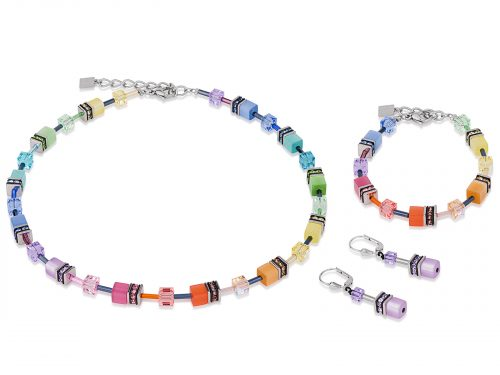 Coeur De Lion Geo Cube Multicoloured Soft Pastel Jewellery Set