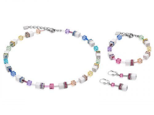 Coeur De Lion Geo Cube Multicoloured White & Pastel Jewellery Set