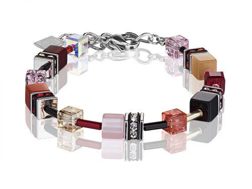 Coeur De Lion Geo Cube Red Swarovski Crystal Bracelet