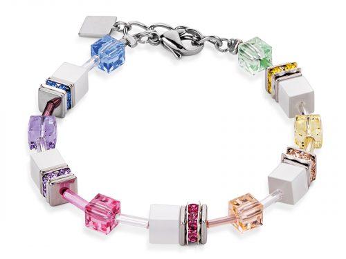 Coeur De Lion Geo Cube Multicolour Pastel-White Bracelet