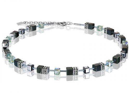 Coeur De Lion Geo Cube Black Swarovski Crystal Necklace