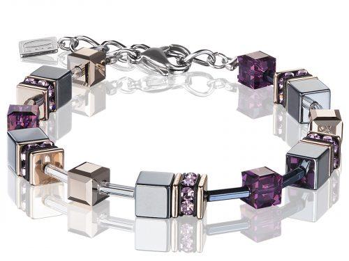 Coeur De Lion Geo Cube Blue Purple Rose Gold Bracelet