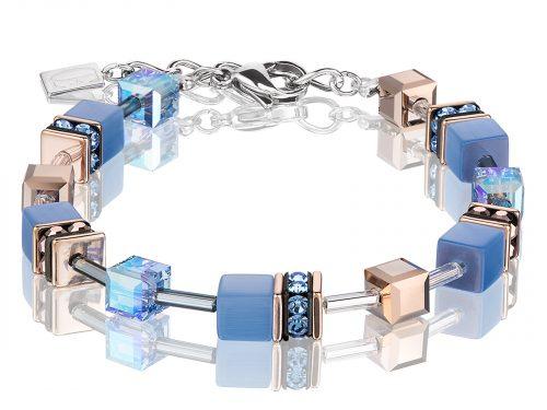 Coeur De Lion Geo Cube Blue Rose Gold Bracelet