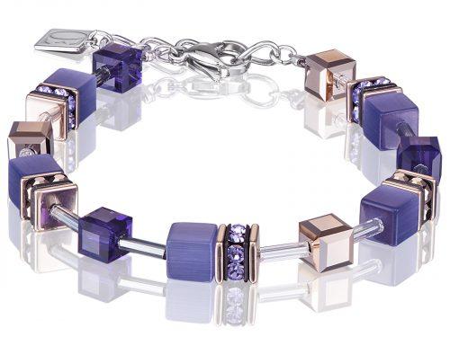 Coeur De Lion Geo Cube Purple Rose Gold Bracelet
