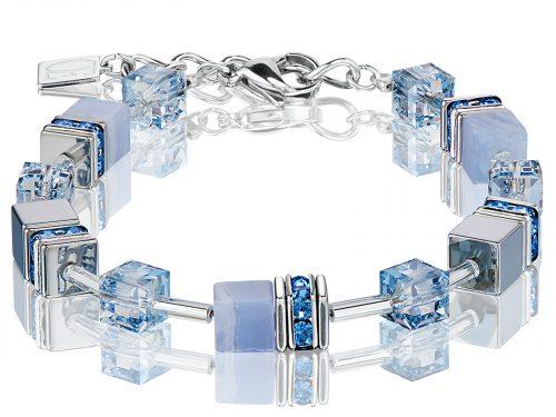 Coeur De Lion Geo Cube Light Blue Chalcedony Bracelets