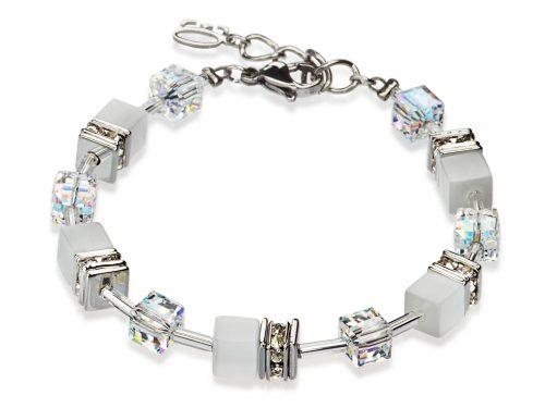 Coeur De Lion Geo Cube White Crystal Bracelet