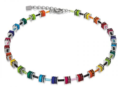 Coeur De Lion Geo Cube Multicolour Crystal Necklace