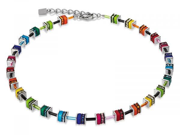 Coeur De Lion Geo Cube Multicolour Crystal Necklace