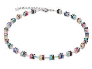 Coeur De Lion Geo Cube Multicoloured Silver Necklace