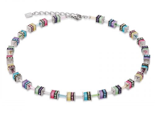 Coeur De Lion Geo Cube Multicoloured Silver Necklace