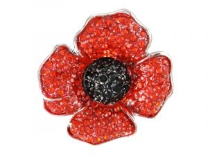 Angelys Large Four Petal Poppy Brooch to commemorate rememberance / armistice day, November 11th