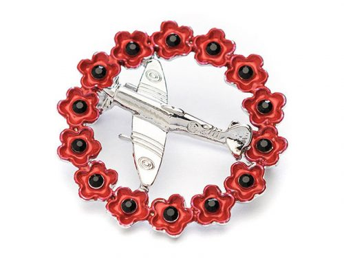 Angelys Spitfire in a Wreath Poppy Brooch