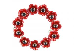 Angelys Small Wreath Poppy Brooch to commemorate rememberance / armistice day, November 11th