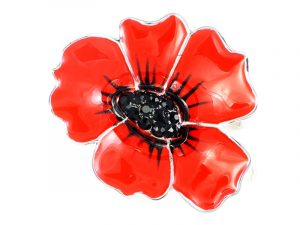 Angelys 40mm Poppy Brooch to commemorate rememberance / armistice day, November 11th