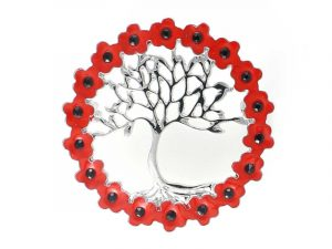 Angelys Tree of Life Wreath Poppy Brooch to commemorate rememberance / armistice day, November 11th