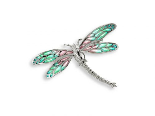 Nicole Barr's Dragonfly Brooch / Pendant has plique-a-jour enamel and white sapphires.