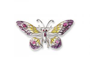Nicole Barr's Butterfly Brooch / Pendant has vitreous enamel, Rubies and Rhodolites.