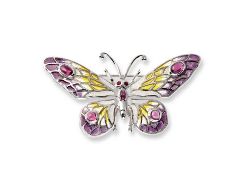 Nicole Barr's Butterfly Brooch / Pendant has vitreous enamel, Rubies and Rhodolites.