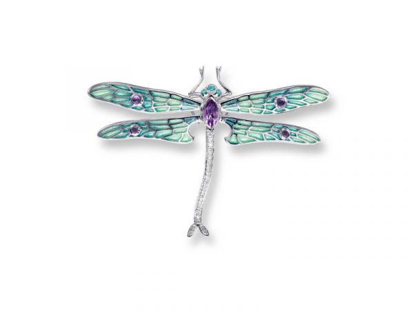 Nicole Barr's Dragonfly Brooch / Pendant has plique-a-jour enamel, Amethyst and white sapphires.