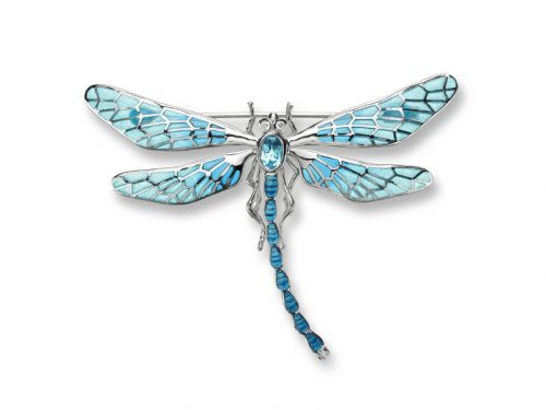 Nicole Barr's Dragonfly Brooch / Pendant has plique-a-jour enamel, blue Topaz and white sapphires.