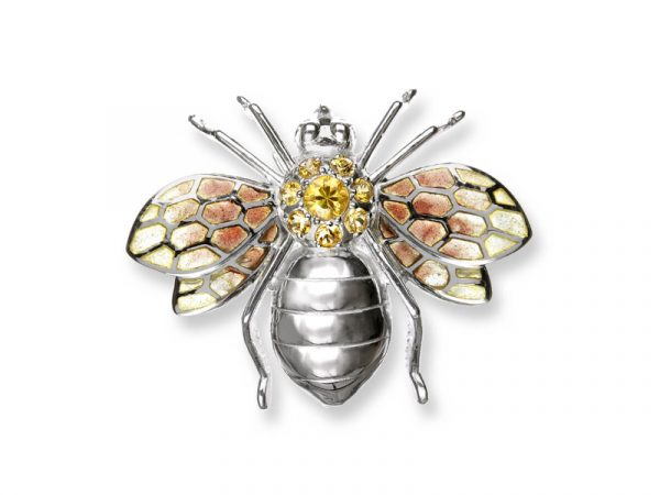 A Nicole Barr Brooch / Pendant of a Bee with vitreous enamel & vibrant yellow sapphires.
