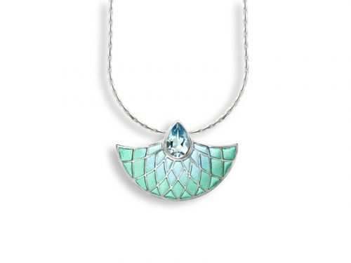 Necklace with an Art Deco fan design, shades of aqua and a large blue Topaz.