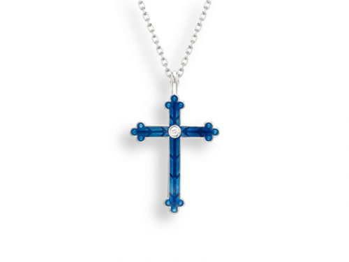 A cross necklace by Nicole Barr in blue with a beautiful etched design and white sapphires.