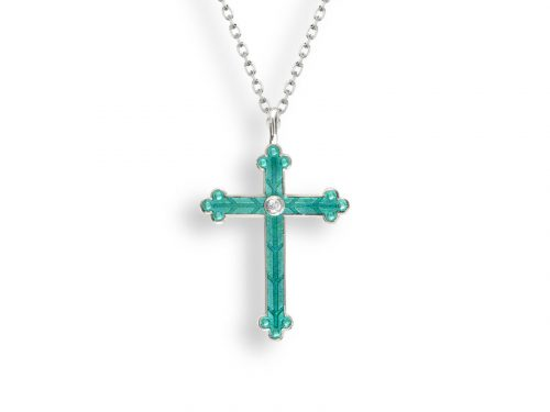 A cross necklace by Nicole Barr in green with a beautiful etched design and white sapphires.