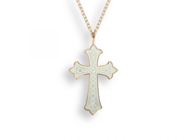A rose gold cross necklace by Nicole Barr in white with a beautiful etched design.