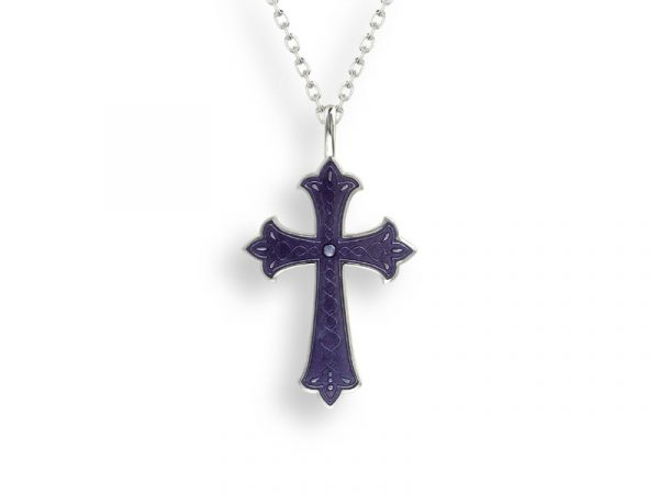 A cross necklace by Nicole Barr in purple with a beautiful etched design.