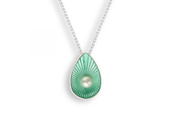 A seafoam necklace by Nicole Barr, with a freshwater pearl and teardrop design