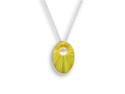 Nicole Barr Oval Necklace in a bright yellow with a freshwater pearl.