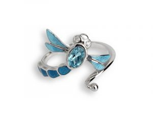 The dragonfly wraps around your finger with it's blue enamel, Blue Topaz and white sapphires. Made by Nicole Barr