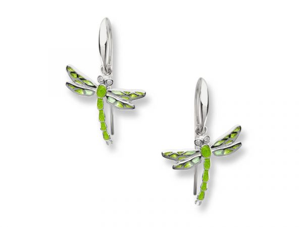 Nicole Barrs Dragonfly wire earrings with green wings.