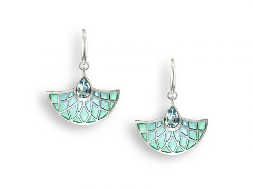 Earrings with an Art Deco fan design, shades of aqua and large blue Topaz.