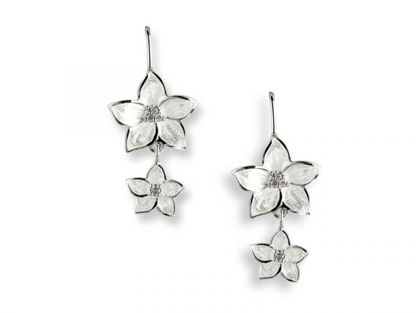 Nicole Barr earrings inspired by the Stephanotis flower decorated with white sapphires.
