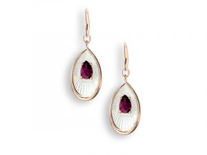 White Rose Gold Plated earrings by Nicole Barr, set with Rhodolite.