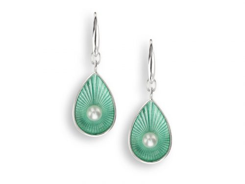 Seafoam Earrings by Nicole Barr, with freshwater pearls and teardrop design