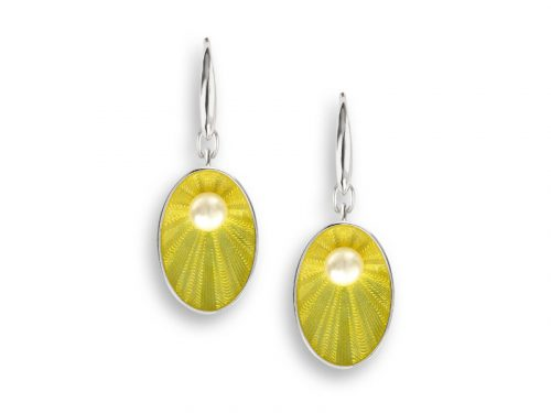 Nicole Barr Oval earrings in a bright yellow with freshwater pearls.