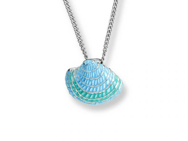 Nicole Barr Green Necklace with a shell design and blue & green colouring.