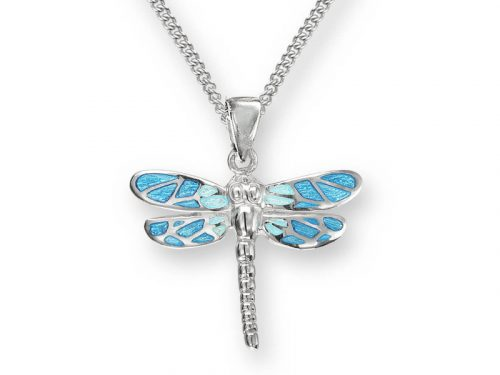 Nicole Barr Dragonfly necklace with blue patterned wings and sterling silver.