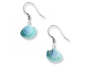 Shell earrings with vitreous enamel and sterling silver by Nicole Barr