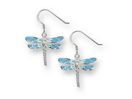 Nicole Barrs Dragonfly wire earrings with blue wings.