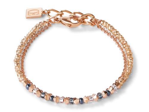 Bracelet fine waterfall rose gold-grey