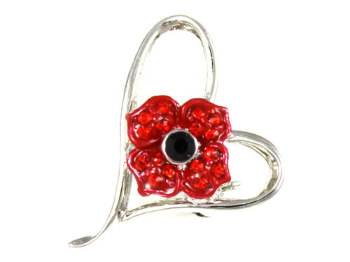 Angelys Poppy Brooch - Poppy in a Heart